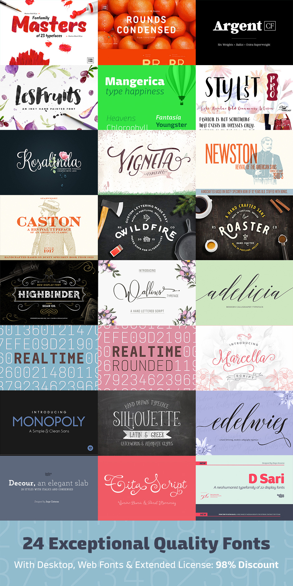 24 Exceptional Quality Fonts