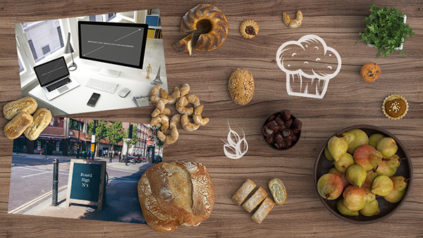 Bakery Scene Creator Items, Textures, Computer And Signage Mockups Set