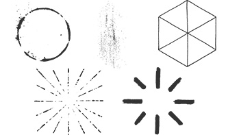 Vector pack of Sunbursts, Geometric Shapes, Ornaments and Coffee Stains