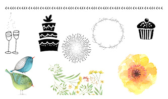 Watercolour Floral and Birthday Party Vectors Pack