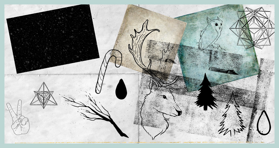 Fine Art and Grungy Textures, Hand-drawn Festive Vectors, and Polygon Shapes Set