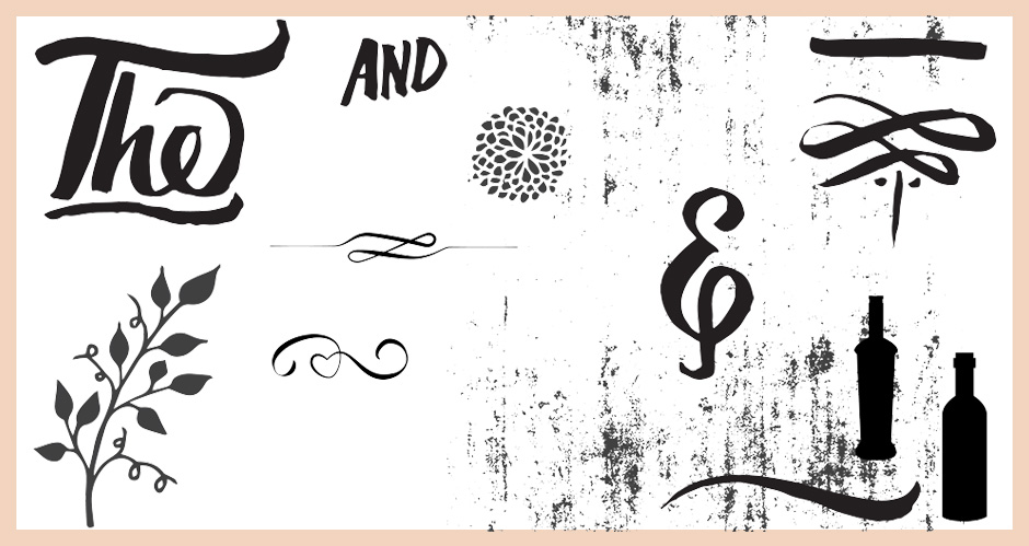 Hand-drawn Vector Catchwords, Swirls, Swashes, Elements and Grungy Texture Pack