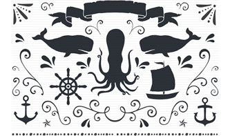 Nautical Vectors, Swirls and Swashes Set