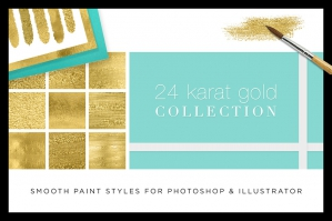 Gold 24K Liquid Watercolor Paint Duo (for Photoshop and Illustrator)