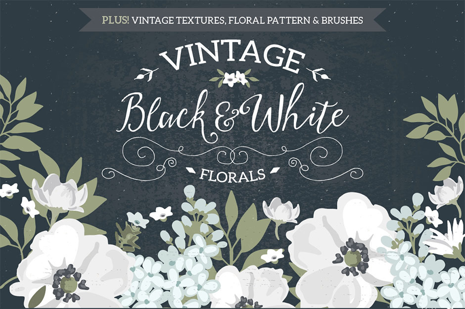 Vintage Black And White Florals