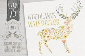 Woodland Elements Watercolor Megapack