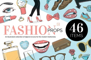 Illustrated Fashion Icons and Props