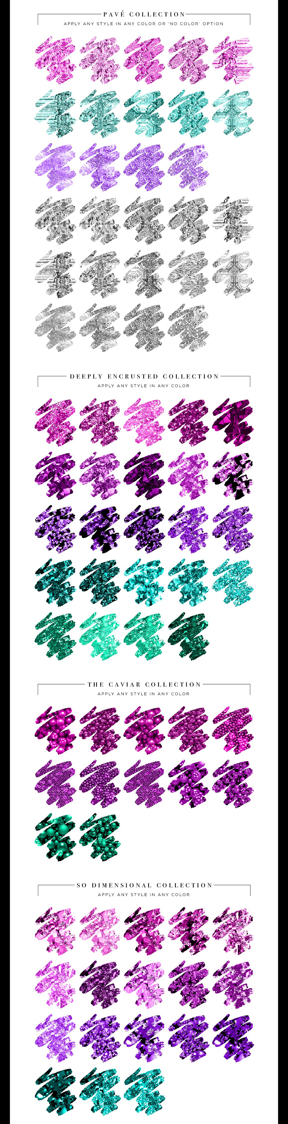 Couture Glitter Styles for Photoshop and Illustrator