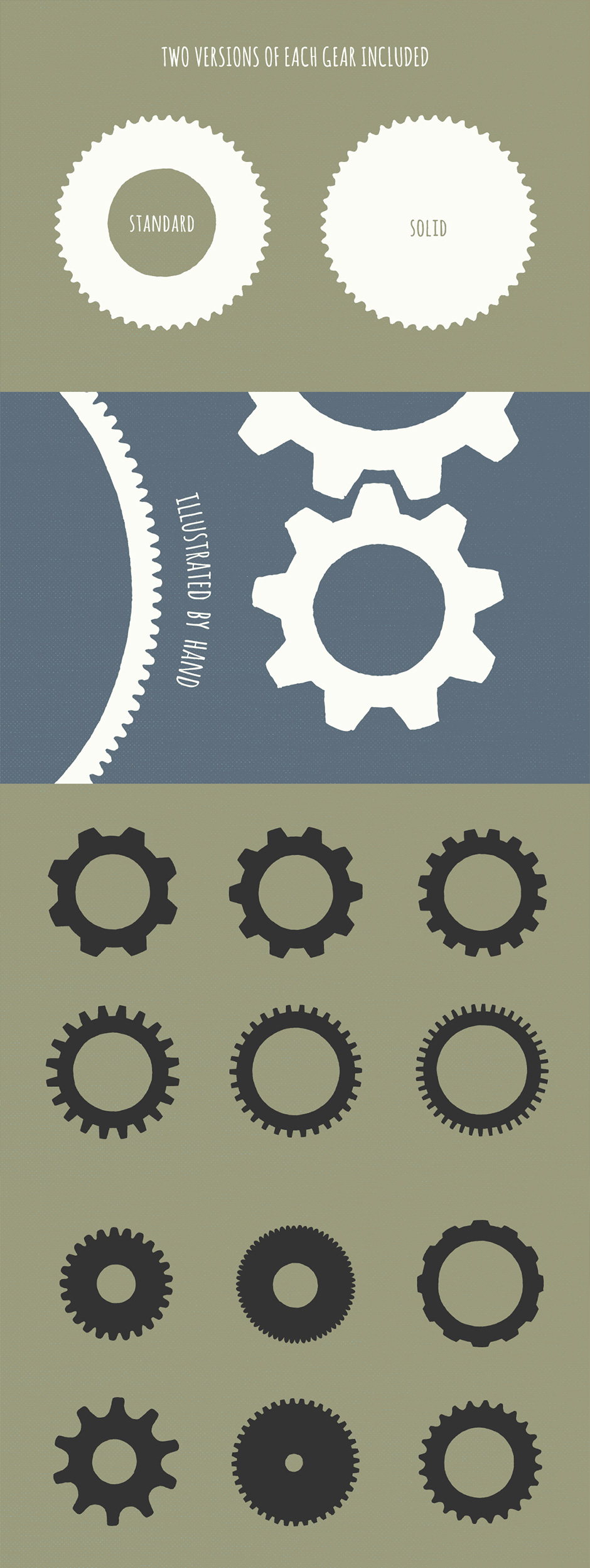 20 Gear Badge Shapes - By Hand