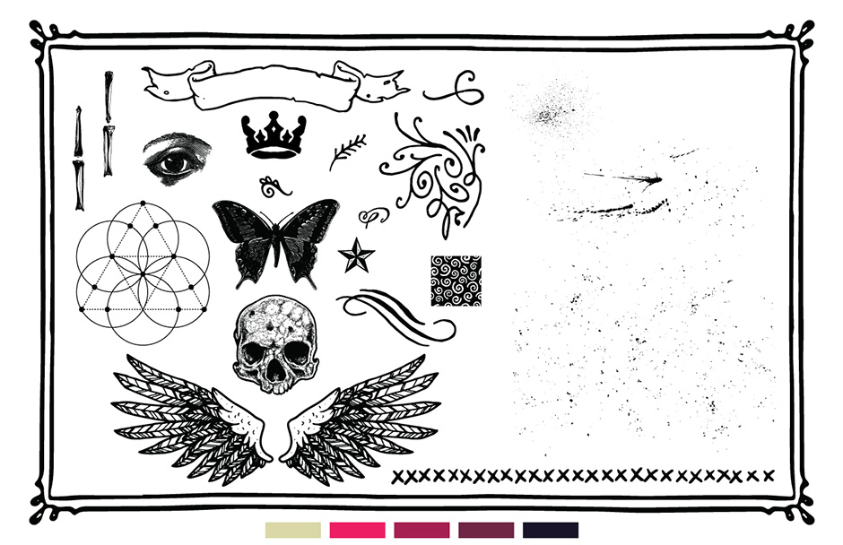 Grungy Vector Elements - Skulls, Banners, Wings, Swirls, Ornaments and More