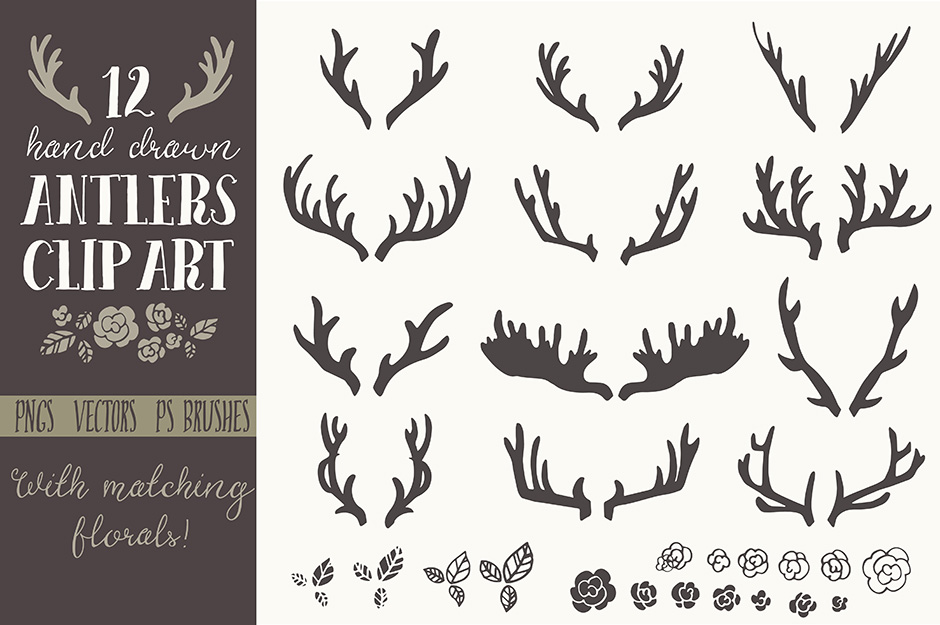 Hand Drawn Antlers Clip Art - Vector
