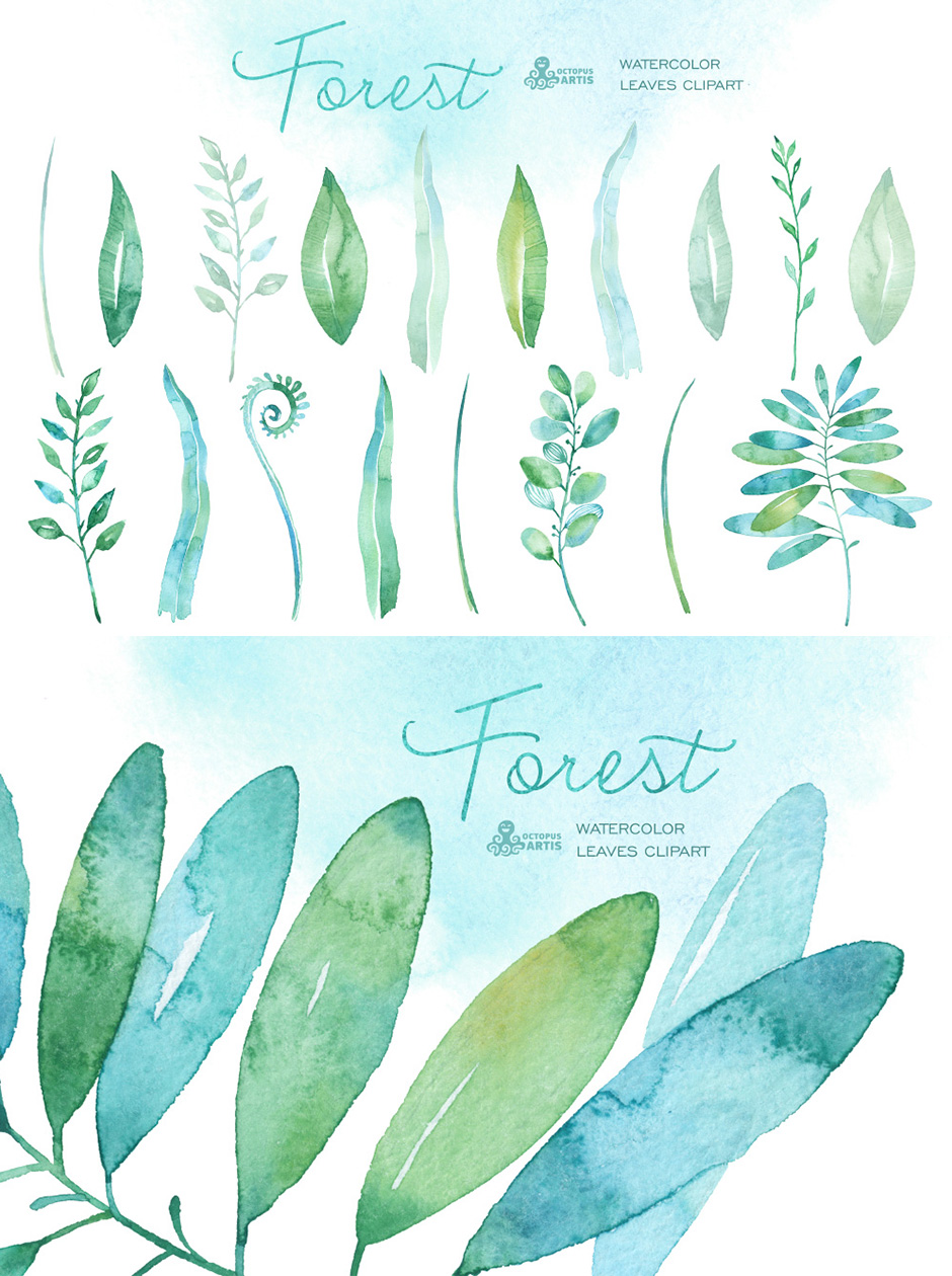Forest Watercolor Leaves