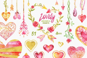Lovely Arrows & Hearts: Watercolor