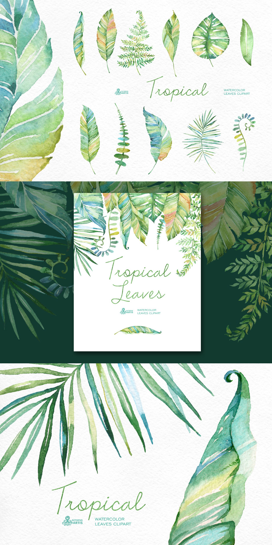 Tropical Watercolor Leaves