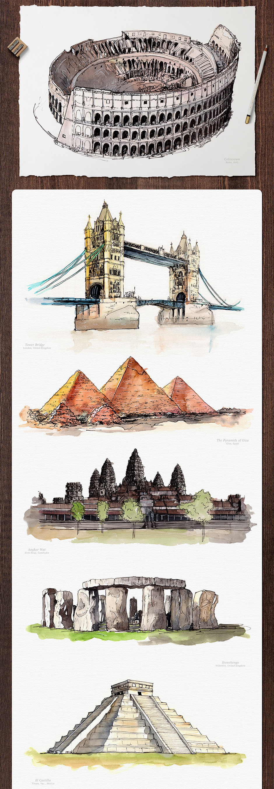 Watercolor Monument Paintings