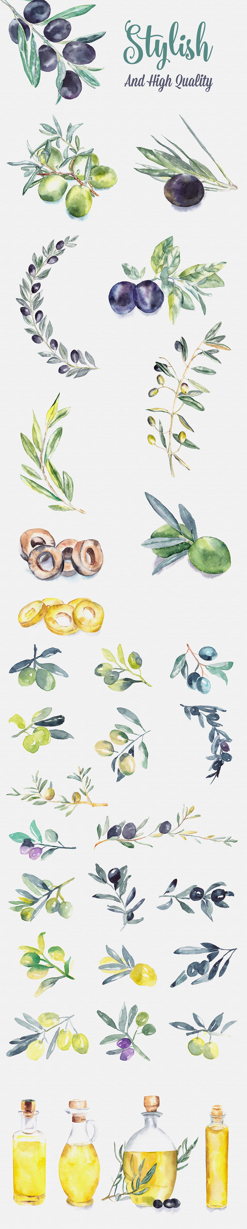 Olive Watercolor Paintings