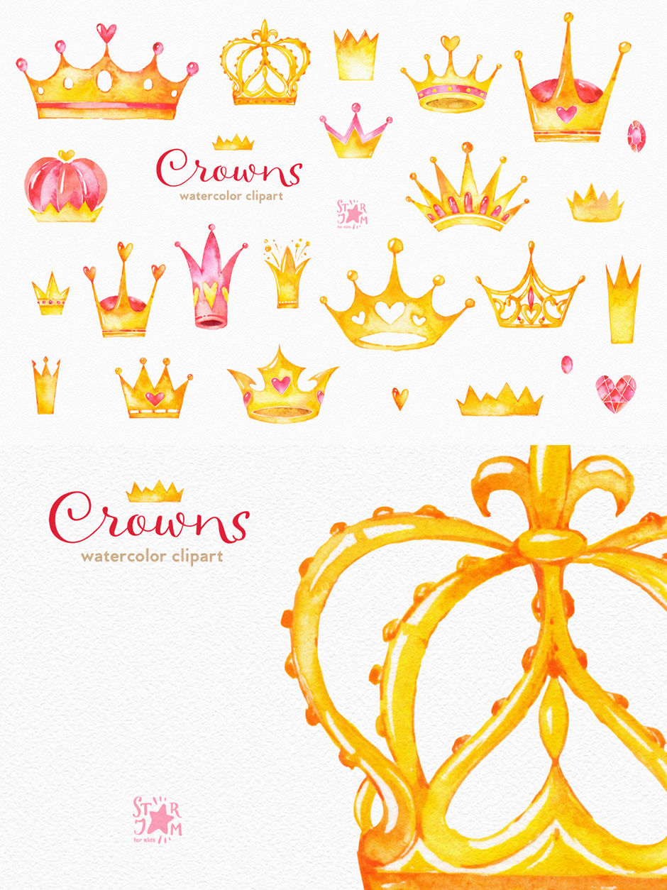 Crowns: Watercolor Clipart