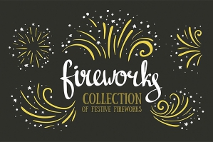 Hand-drawn Vector Festive Fireworks