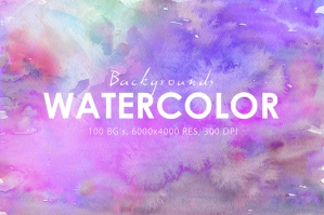 100 Watercolor Backgrounds Vol. 2