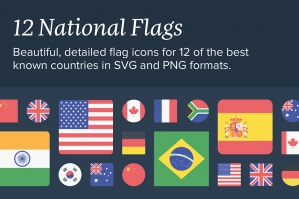 11 National Flags Icon Set
