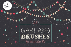 Holidays Garland Brushes Set + Bonus