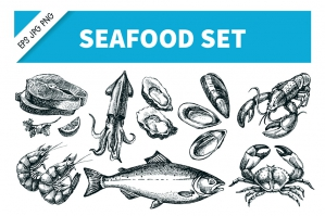 Hand-drawn Seafood Sketch Vector Set