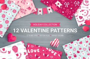 12 Valentine Seamless Patterns Volume 2