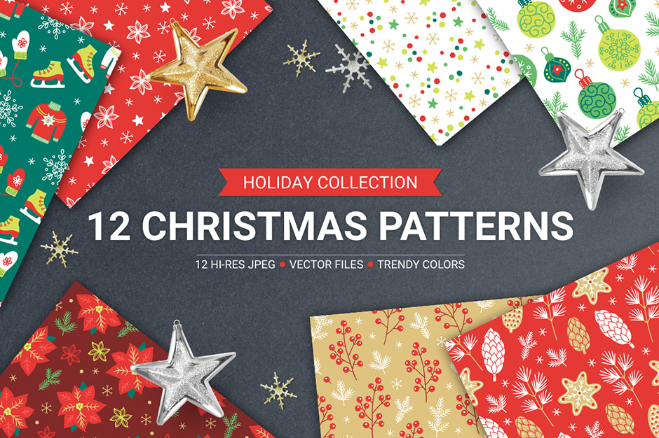 12 Christmas Seamless Patterns Vol. 1