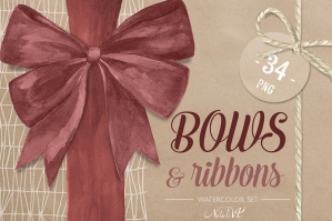 Bows & Ribbons Watercolor Set