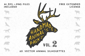 Hand-made Animal Silhouette Pack 2