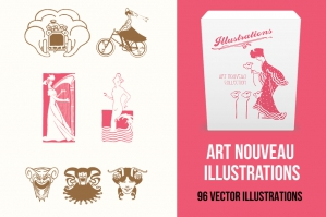 Art Nouveau Illustrations Pack