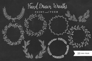 Hand-drawn Wreaths Black & White