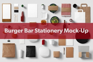 Burger Bar Stationery Mock Up