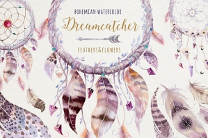 Bohemian Watercolor Dreamcatchers II