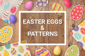 50 Easter Eggs and Seamless Patterns