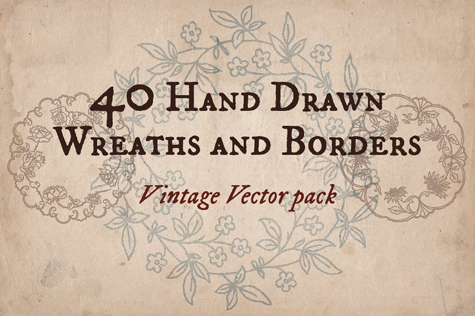 40 Hand-drawn Wreaths and Frames