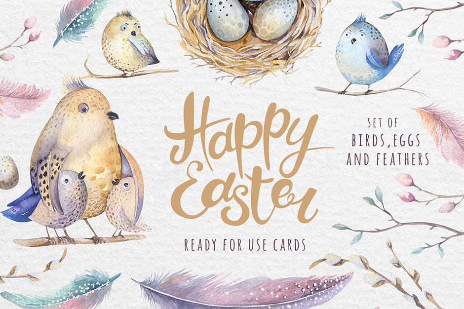 …Watercolor Happy Easter Cards