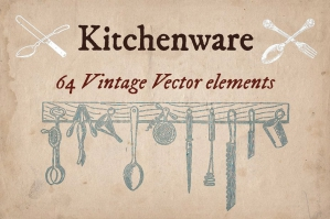 64 Vintage Kitchenware Elements