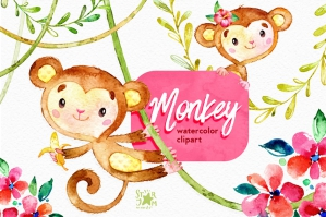 Monkey Watercolor Clip Art