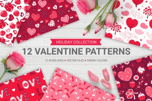 12 Valentine Seamless Patterns Vol. 3