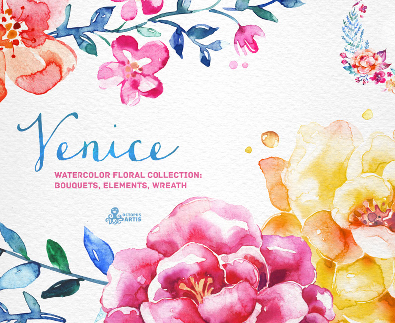 Venice Watercolor Floral Collection