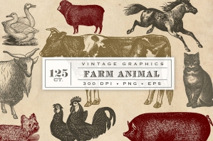 Vintage Farm Animal Vector Graphics