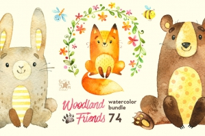 Woodland Friends Watercolor Bundle