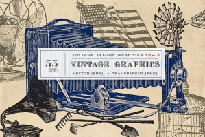 55 Vector Vintage Graphics Vol. 2