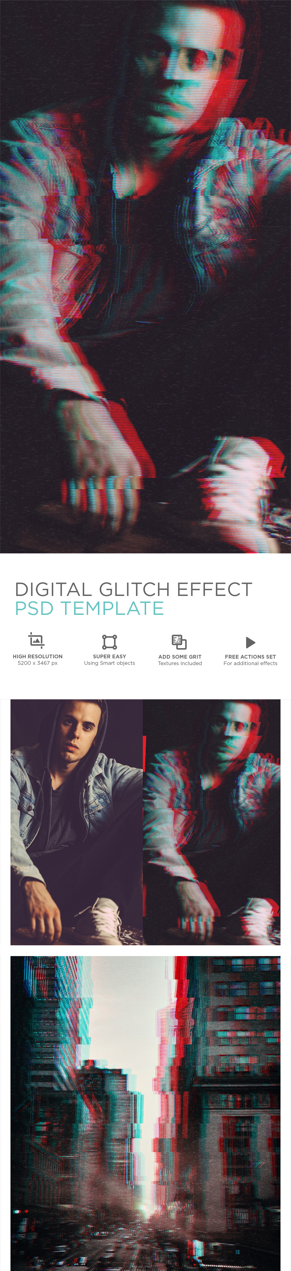 Digital Glitch Effect PSD Templates