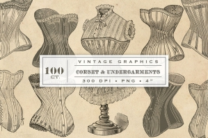 100 Antique Corset Graphics