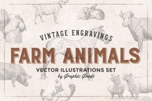 46 Farm Animals Vintage Engravings