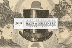 Antique Hats Millinery Graphics