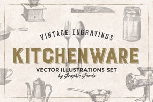 84 Vintage Kitchen Tools Engravings