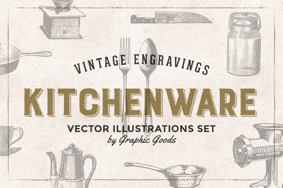 84 Kitchen Tools Vintage Engravings